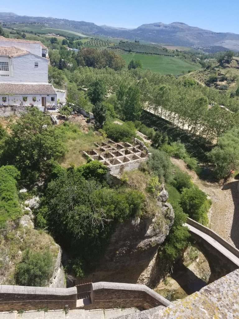 Aerial view of the Arab Baths in Ronda, Spain